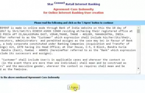 Accept terms and conditions for BOI net banking