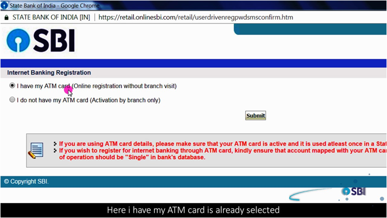Activate SBI Net banking via ATM Card