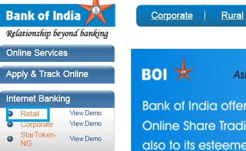 BOI Retail user net banking account