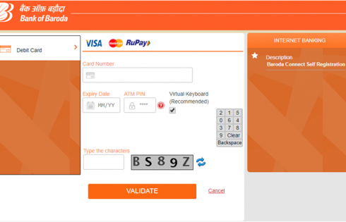 Bank of Baroda net banking account registration