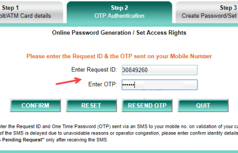 Enter OTP and request id for IDBI net banking activation