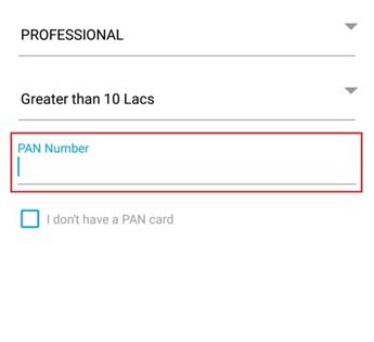 Enter PAN Number