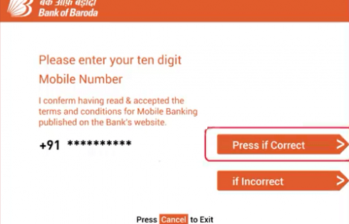 Enter mobile number at ATM machine