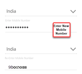 Enter new mobile number - KMB mobile banking