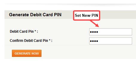 Generate Debit Card PIN using internet banking