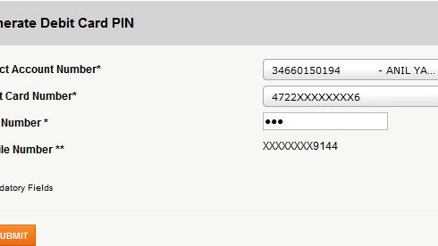 Generate ICICI bank debit card pin