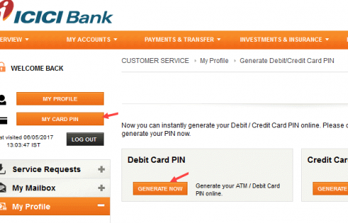 ICICI Bank My Card PIN online