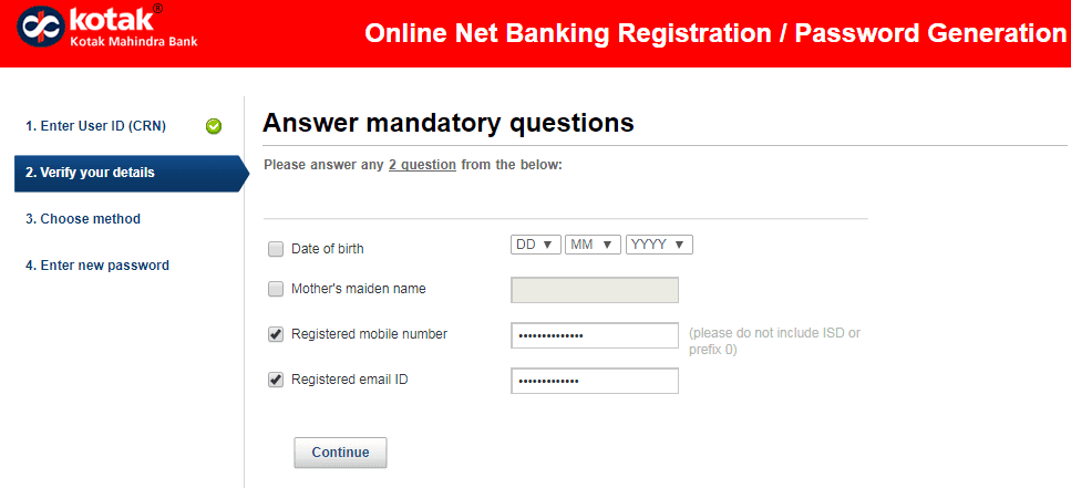 KMBL bank online registration for net banking