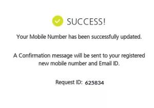 Kotak Mahindra Bank change registered mobile number confirmation message