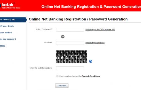 Kotak Mahindra Online net banking registration