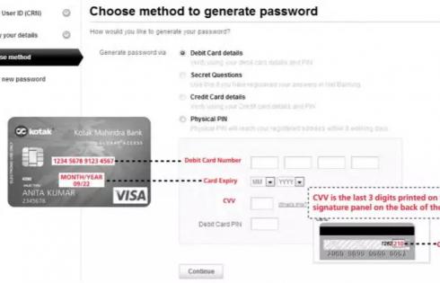 Kotak bank generate net banking password