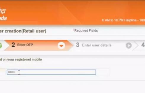 Online Baroda Connect user creation OTP