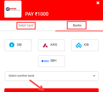 Pay money via debit card to 811 kotak