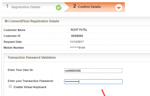 Register M-connect plus via BOB net banking