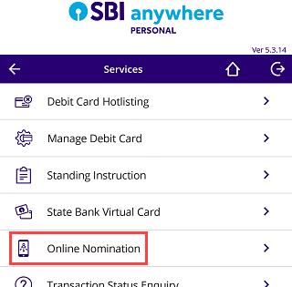 SBI Anywhere app - online nomination