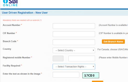 SBI New User Registration