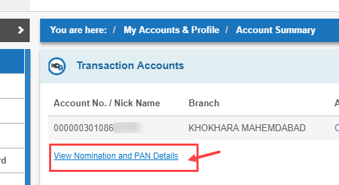 SBI View Nomination and PAN Details