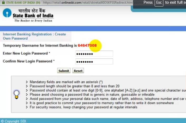 Set SBI net banking login password