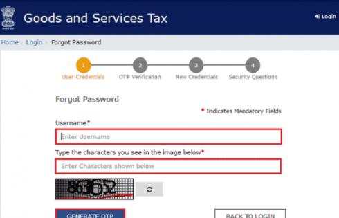 Forgot password GST Login