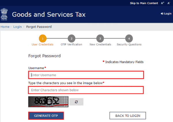 Forgot password GST Login